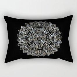 Aztec Mexican Silver Mandala Rectangular Pillow