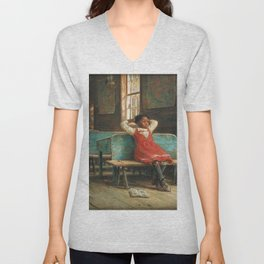 African American Masterpiece Portrait 'Kept In' by Edward Lamson Henry Unisex V-Neck