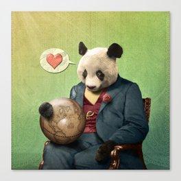 Wise Panda: Love Makes the World Go Around! Canvas Print