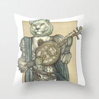 banjo Throw Pillows featuring Banjo Lion by Felis Simha