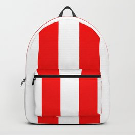 Jumbo Berry Red and White Rustic Vertical Cabana Stripes Backpack