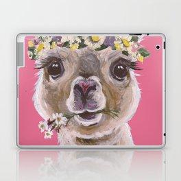 Alpaca Art, Alpaca Flower Crown Laptop & iPad Skin