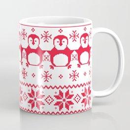 Red Scandinavian Penguin Holiday Design Coffee Mug