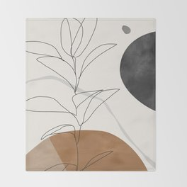 Abstract Art /Minimal Plant Throw Blanket