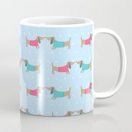 Cute dog lovers with dots in blue Coffee Mug