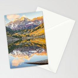 Maroon Bells Autumn Sunrise Aspen Colorado Mountain Fall Landscape Stationery Cards
