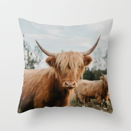 Highland Cow In The Country Throw Pillow