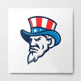 Uncle Sam Wearing USA Top Hat Mascot Metal Print