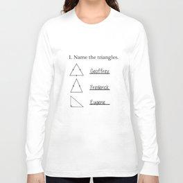 Name The Triangles Funny Math Geometry Quiz College Teacher T-Shirts Long Sleeve T-shirt
