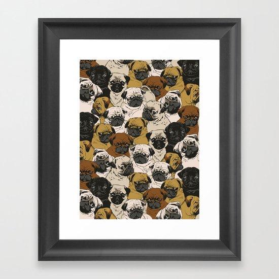 Social Pugz Framed Art Print