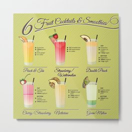 Fresh fruit cocktails and smoothies illustration set with recipt Metal Print