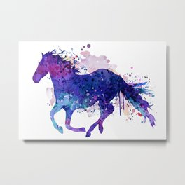 Running Horse Watercolor Silhouette Metal Print