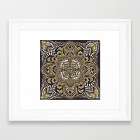 black and gold Framed Art Prints featuring Black & Gold by Paula Savage