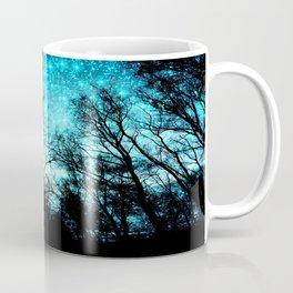 black trees turquoise teal space Coffee Mug
