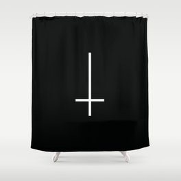 Flipped over cross Shower Curtain