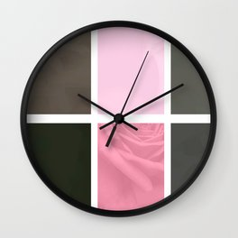 Pink Roses in Anzures 4 Abstract Rectangles 1 Wall Clock