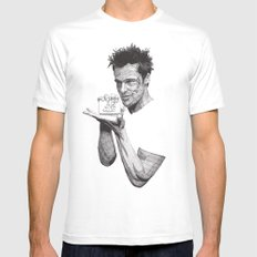 Tyler Durden II White LARGE Mens Fitted Tee