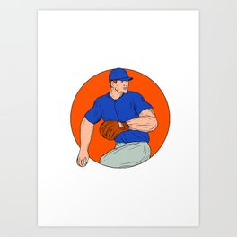 Baseball Pitcher Ready To Throw Ball Circle Drawing Art Print