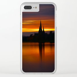 Fiery Sunset Reflection At The The Lichfield Cathedral Clear iPhone Case