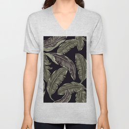 palm leaves black Unisex V-Neck