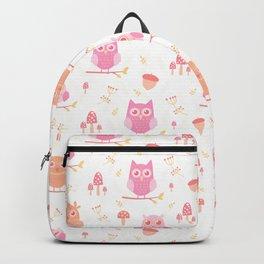 Cute funny pastel pink coral orange owl floral Backpack