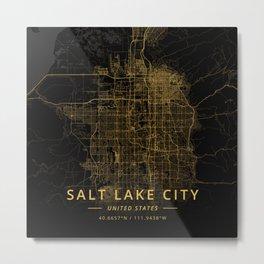 Salt Lake City, United States - Gold Metal Print