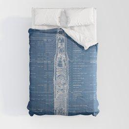 Apollo 11 Saturn V Blueprint in High Resolution (light blue) Comforters