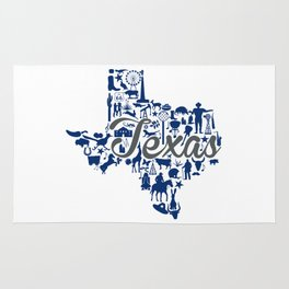 Rice -Texas Landmark State - Gray and Blue Rice University Theme Rug