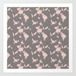 Floral Bounty in Gray Art Print