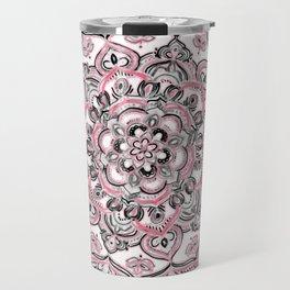Magical Mandala in Monochrome + Pink Travel Mug