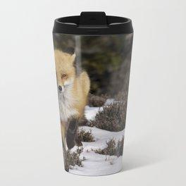 Red Fox on Snowy Beach Metal Travel Mug
