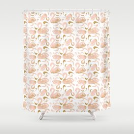 Block Swans Peach and Gold Pattern Shower Curtain