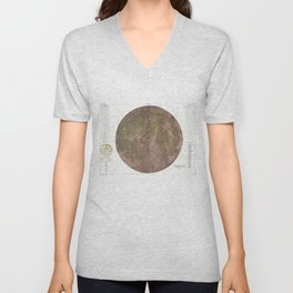 Vintage Map of The Moon (1961) 2 Unisex V-Neck
