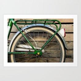 Old bike's back wheel Art Print