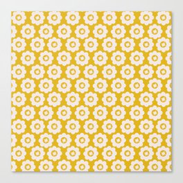 Canary Yellow Retro Floral Canvas Print