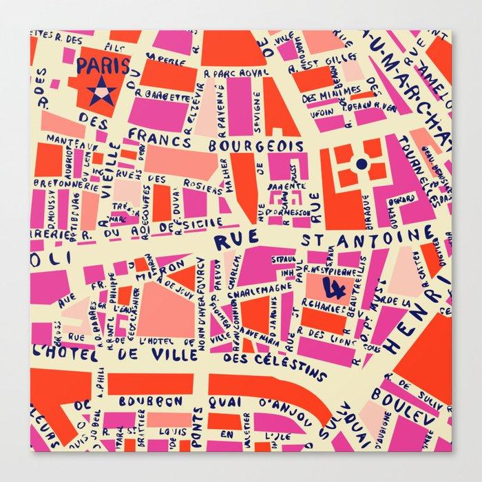 paris map pink Leinwanddruck