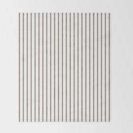Mulch Brown Pinstripe on White Throw Blanket
