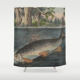 Vintage Illustration of a Hooked Brook Trout (1874) Shower Curtain