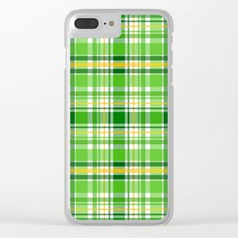 St Patrick's Day Lucky Green Plaid Pattern Clear iPhone Case