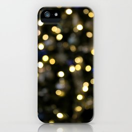 White Blue and Green Christmas Bokeh iPhone Case