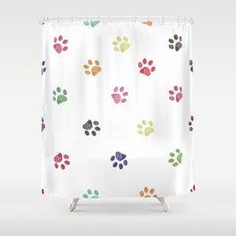 Vibrant colorful doodle paw prints Shower Curtain