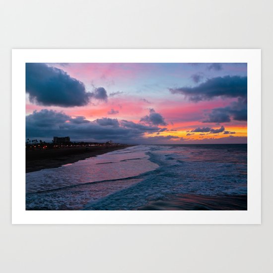 Huntington Beach Sunrise 1/31/14 Art Print