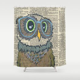 Owl wearing glasses Shower Curtain