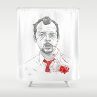 shaun of the dead Shower Curtains featuring Shaun of the Dead by Andy Christofi