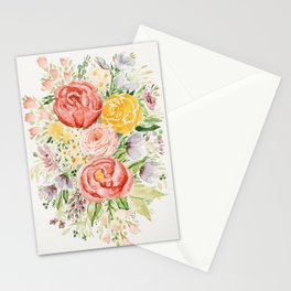 Pink Peonies and Wildflowers Stationery Cards
