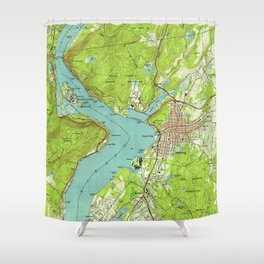 Vintage Map of Peekskill New York (1947) Shower Curtain