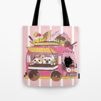 truck Tote Bags featuring IceCream Truck by ShangheeShin