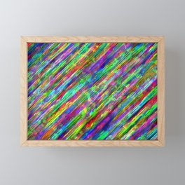 Diagonal neon lines Framed Mini Art Print