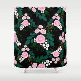 Elegant Pink and white Floral watercolor Paint Shower Curtain