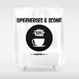 Superheroes and Scones Shower Curtain